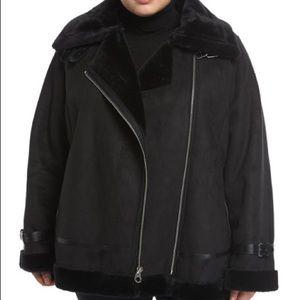 Black Shearling Moto Jacket
